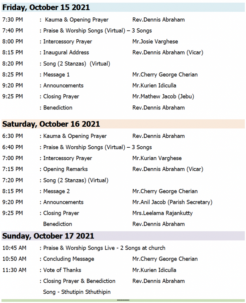 Church Convention Schedule